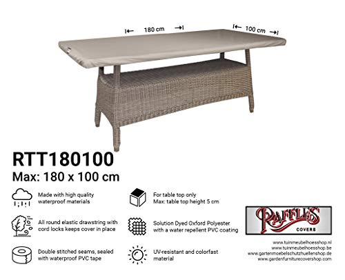 Raffles Hoezen NW-RTT180100 Beschermhoes voor tafelblad 180 x 100 cm Deksel voor tuintafel, Buitenhoes voor tafel, Deksel voor terrastafel