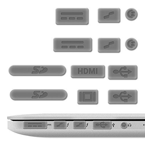 kwmobile Anti-Dust Protection Plugs Set - Silicone Rubber Dust Plug Stopper for Apple MacBook Pro 13' 15' Retina/Air 11' 13'(from Mid 2011 to Mid 2016) - Silver