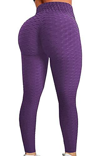 Leggins Sportivi Lungo Donna, Allenamento Leggings Opaco Pantaloni Yoga Fitness Palestra, GP-11(Purple,M)