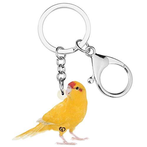 Llaveros Canarios de Colores Brillantes Llavero estético Lindo pájaro Animal Llavero para Mujeres Adolescentes