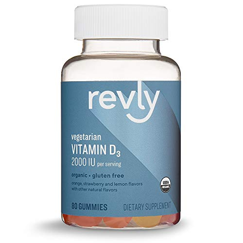 Amazon Brand - Revly Vitamin D3, 2000 IU per Serving (2 Gummies), 80 Gummies, Supports Strong Bones and Immune Health, Vegetarian, Organic
