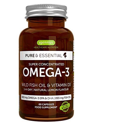 Pure Essentials Aceite de Pescado Salvaje Omega-3 410 mg EPA y 250 mg DHA por cápsula y Vitamina D3, sabor a limón, 60 cápsulas