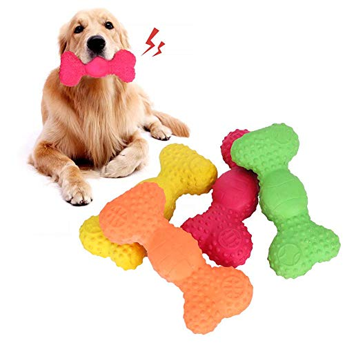 4Pcs Juguetes para perros Juguete para masticar hueso duradero Juguete para masticar perro Látex Juguete para perro Hueso Molar Limpieza de dientes Juguete para masticar Juguete de entrenamiento inter