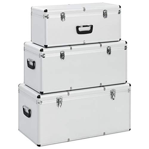 Tidyard Alubox 3er Set stapelbar | Alukisten mit Deckel | Transportkiste | Aluminiumkiste | Aluminiumbox | Aufbewahrungskoffern