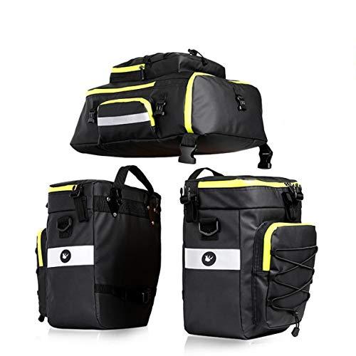 Rhinowalk smartEC Fahrradtasche, 3 in 1 Gepäckträgertasche, Satteltasche für E-Bike, (75 l Füllvolumen insgesamt), Rückseiten-Reflektoren, als Rucksack und Tragetasche nutzbar, Schwarz-Gelb