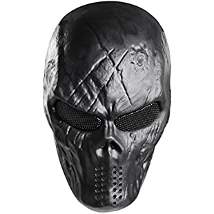 Unomor Skull Mask Halloween Mask with Metal Mesh Eyes Protection for Halloween Party Airsoft Paintball Game Party Costume - Black