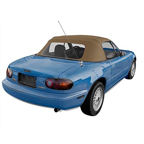 Sierra Auto Tops Convertible Soft Top Replacement, compatible with Mazda Miata MX5 1990-2005, w/Plastic Window, Cabrio Vinyl, Tan
