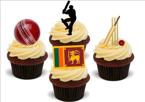 Cricket Sri Lanka Mix - 12 essbare hochwertige stehende Waffeln Karte Kuchen Toppers Dekorationen, Cricket Sri Lanka Mix - 12 Edible Stand Up Premium Wafer Card Cake Toppers Decorations