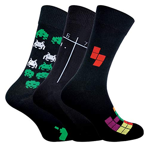 sock snob Herren Socken mit Retro Vintage Spiele Design | 3er Pack (Pac Man/Space Invaders/Tetris, 39-45)