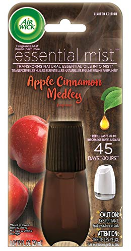 Air Wick Essential Mist, Essential Oil Diffuser Refill,  Apple Cinnamon Medley, Holiday scent, Holiday spray, Air Freshener