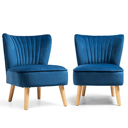 Safstar Armless Accent Chair, Velvet Modern Chair with Rubber Wood Legs and Thick Sponge Seat, Upholstered Leisure Wingback Sofa Chair for Living Room for Bedroom Living Room (2, Blue)