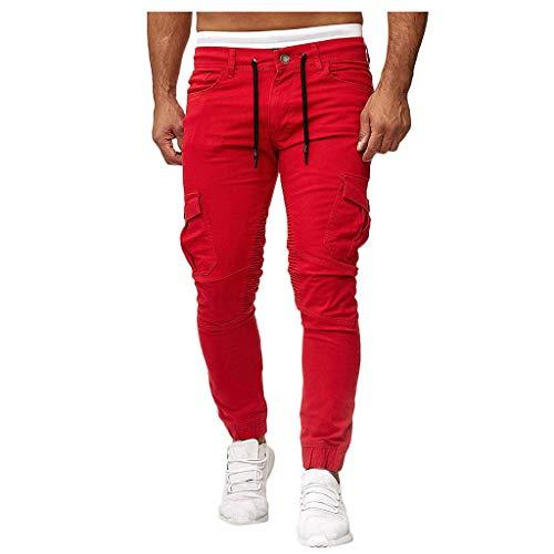 Fahooj Cargohose Herren Jogginghose Casualpants Trainingshose Sporthose Sport und Freizeithose Slim Fit Streetwear F.1250(L,Rot)