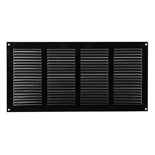 400x200mm Schwarz Lüftungsgitter mit Insektenschutz Abluftgitter Wetterschutzgitter Abluft Zuluft Metall Gitter