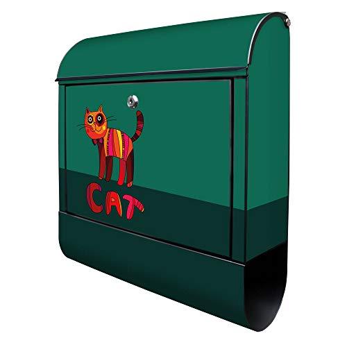 BANJADO Design Briefkasten schwarz | 38x47x13cm groß mit Zeitungsfach | Stahl pulverbeschichtet | Wandbriefkasten mit Motiv Orange Katze | ohne Standfuß