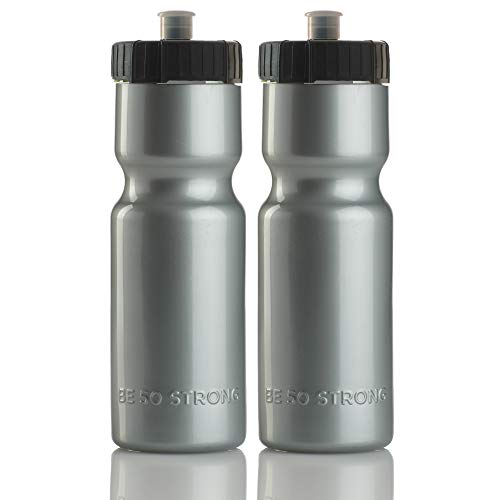 50 Strong Sports Squeeze Water Bottle 2 Pack – 22 oz. BPA Free Easy Open Push/Pull Cap – USA Made (Silver)