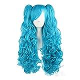MapofBeauty 70cm/ 28 pulgada largo rizo seorita rizo Lolita Pelucas (azul celeste)