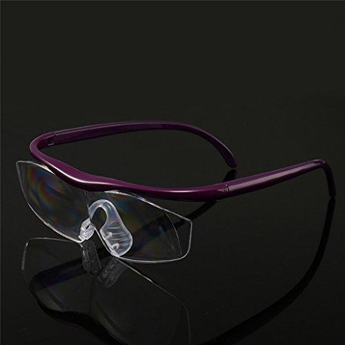 Cold Toy +3.00 Vergrößerungsbrille Lupenbrille Zauberbrille Lupe auf der Nase optische Vergrößerung auf 180% (Lila)