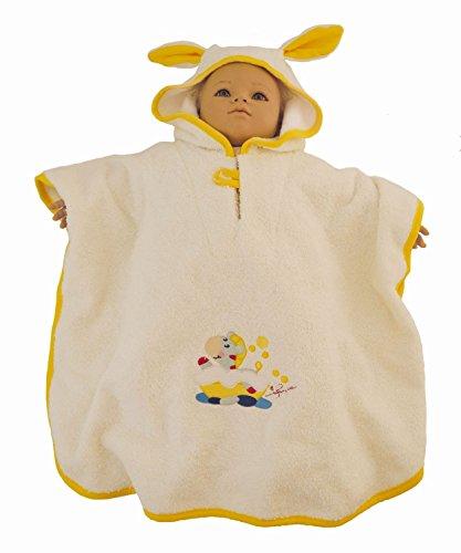 BIECO Baby poncho badjas van 100% katoen in beige, met motief, ca. 79 x 65 x 0,5 cm, vanaf 0 maanden. Zebra motief geel