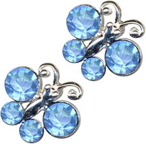 Pendientes de mariposa azul, plata de ley 925, circonitas, estrás, plata de ley 925, símbolo de amor, diseño de objeto, plegable, animales y mariposas, color azul, extravagante, a la moda, claros