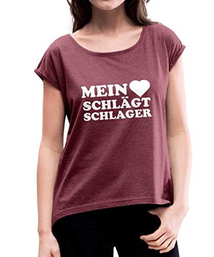 Mein Herz Schlägt Schlager Schlagermusik Frauen T-Shirt mit gerollten Ärmeln, L, Bordeauxrot meliert
