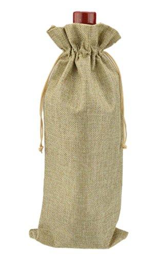 20 pièces sac porte bouteille de vin, matériel jute naturel 15 * 37 cm