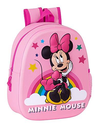 Safta Mochila Diseo 3D Adaptable a Carro de Minnie Mouse, 270x100x320mm, Rosa Claro