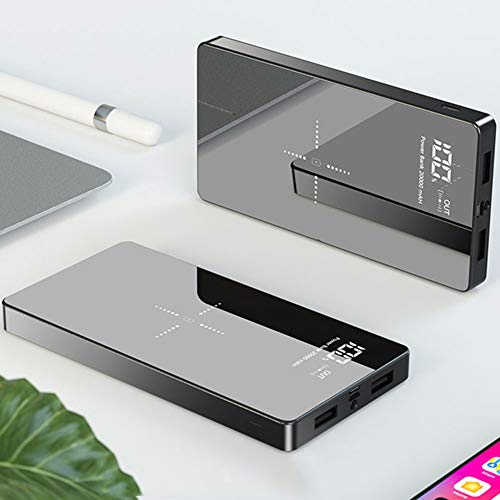 DWGYQ 20000 mAh Banco de energía Cargador portatil Paquete de baterías externas de Alta Capacidad con Pantalla LED y Carga rápida inalámbrica iPhone Compatible con Android Tipo c,Negro