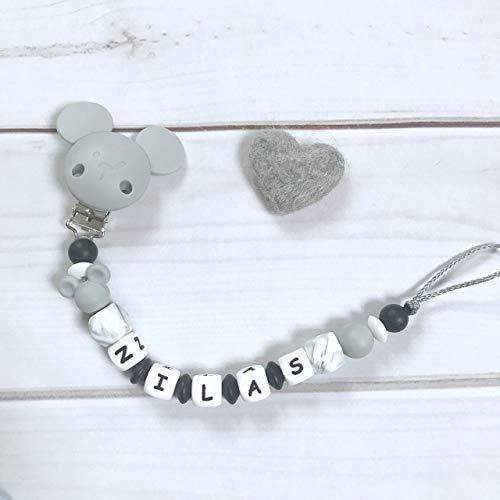 Schnullerkette Nuckelkette grau schwarz weiß Junge Silikon mit Namen Maus