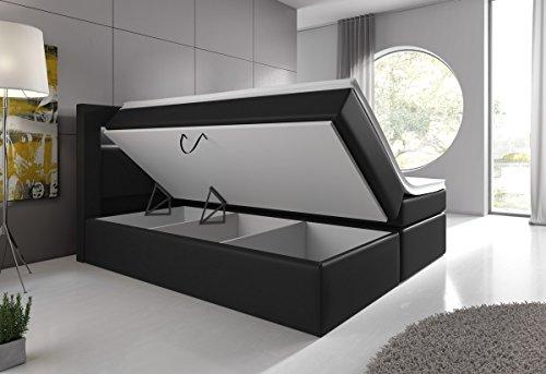 Wohnen-Luxus Boxspringbett 180x200 Schwarz mit Bettkasten LED Kopflicht Hotelbett Venedig Lift