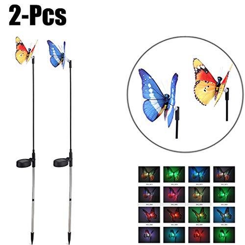 Justdolife Tuinstang, 2 stuks, verlichte vlinder, tuinverlichting, landschapsLED, voor Yard
