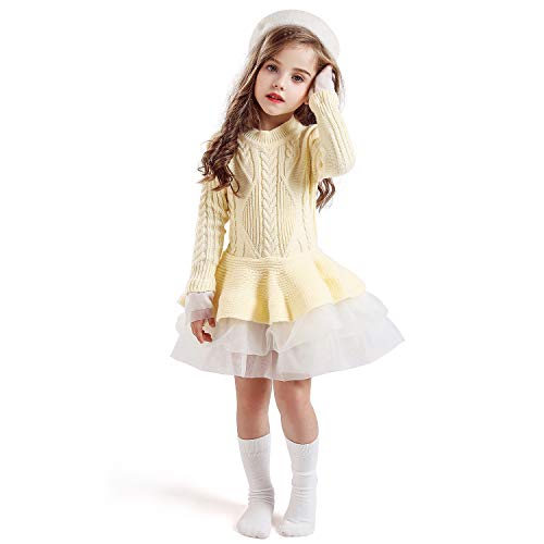 NNJXD Girls Long Sleeve Autumn Winter Knit Sweater Christmas Dress Casual Wear Size(140) 6-7 Years White#
