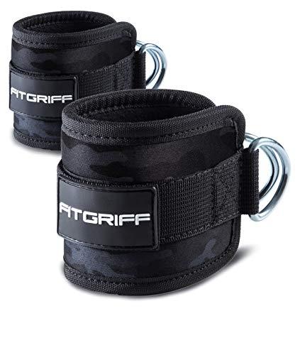Fitgriff® Fußschlaufen (gepolstert) - für Fitness Training am Kabelzug - (2 Stück) Ankle Straps für Frauen und Männer (Camo-Black)
