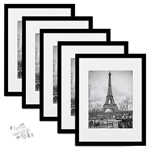 upsimples 12x16 Picture Frame Set of 5,Display Pictures 8.5x11 with Mat or 12x16 Without Mat,Wall Gallery Photo Frames,Black