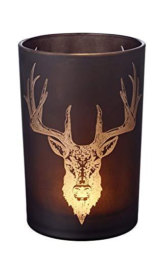EDZARD Windlicht Teelichtglas Kerzenglas Alex, schwarz, Hirsch, Höhe 18 cm