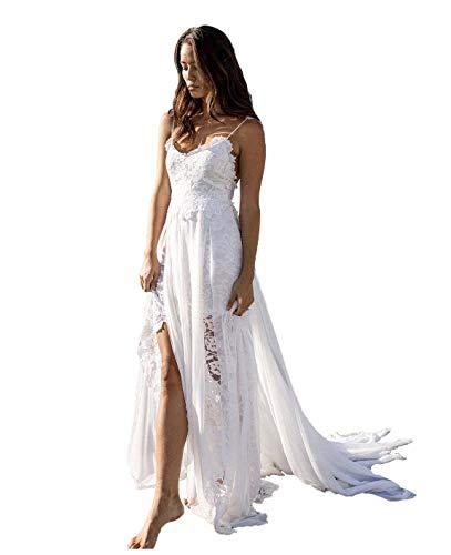Nanger Spitze Hochzeitskleider Standesamt mit Spaghettiträger Damen Brautkleider Strand Lang Weiß 36
