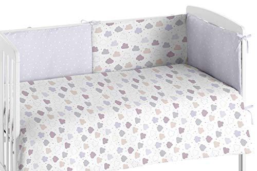 Burrito Blanco Edredón Cuna y Protector para Bebés 008 con Un diseño de Nubes para Cuna 60x120cm/Edredón Cuna + Chichonera para Proteger de los Posibles Roces y Golpes, Colores Gris y Granate