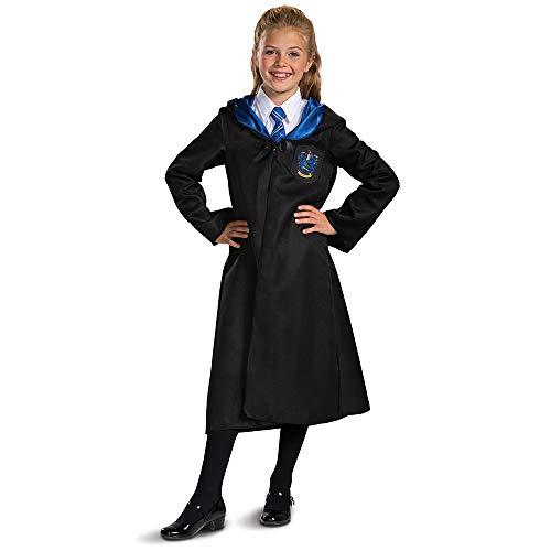 Harry Potter Ravenclaw - Bata para disfraz infantil clásico, color negro y azul, tamaño mediano (7-8)