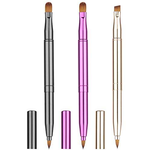 3 Pcs Retractable Lip Brush with Cap Dual End Concealer Brush Eyebrow Brush Travel Size Lip Line Brush for Lip Gloss Lip Applicator Makeup Brushes