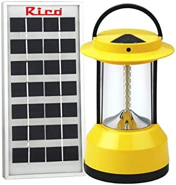 Rico LED Solar Emergency Lantern Light with Solar Panel and High Bright LED (Yellow) I Made in India