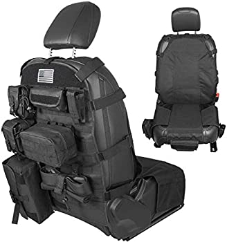 Universal Front Seat Cover Case Storage Bags Muti-Compartments Holder Pockets Molle Pouches Stuff Organizer  Black