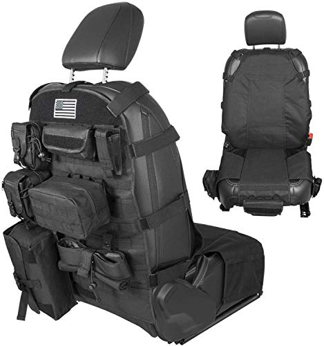 Universal Front Seat Cover Case Storage Bags Muti-Compartments Holder Pockets Molle Pouches Stuff Organizer