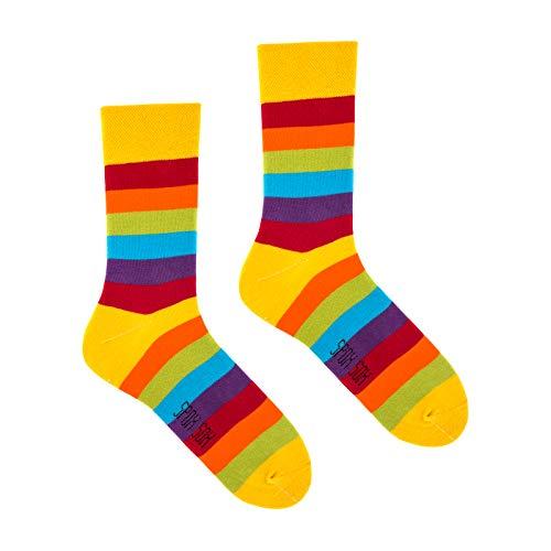 Spox Sox Casual Unisex - mehrfarbige, bunte Socken für Individualisten, Gr. 40-43, Regenbogen