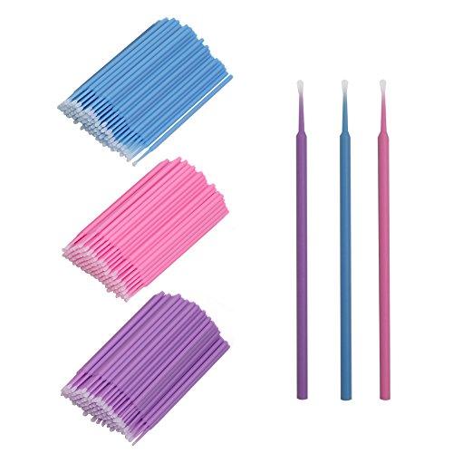 Shintop 300 Stück Microbrush Wimpernverlängerung für Makeup, Zahn- und Mundpflege (Lila+Blau+Rosa)