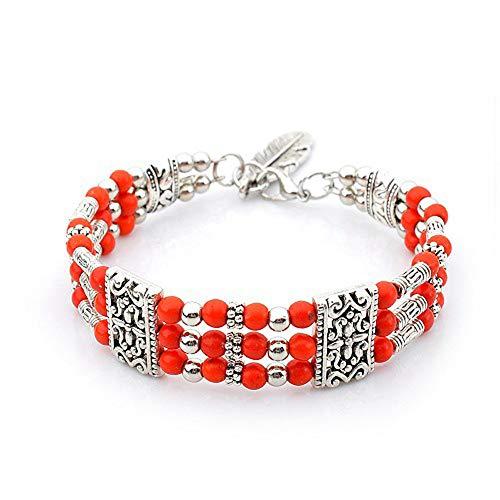 Yazilind Mehrschichtige Perlen Stapelbare Armbänder Charme Türkis Armband Tibetische Legierung Armbänder Geschenk für Frauen Mädchen (Rose rot)