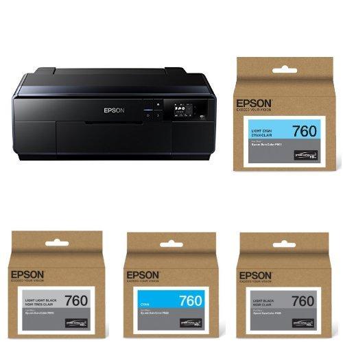 Epson SureColor P600 Inkjet Printer and Epson T760520 UltraChrome HD Light Cyan/Light...