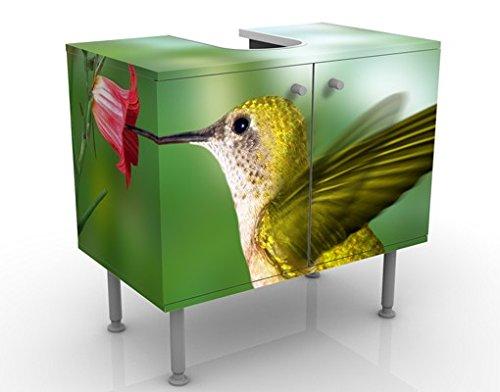 Meuble sous vasque design Hummingbird And Blossom 60x55x35cm, petit, 60 cm de large, réglable, table de lavabo, armoire de lavabo, lavabo, meuble bas, baignoire, salle de bains, armoire de salle bains