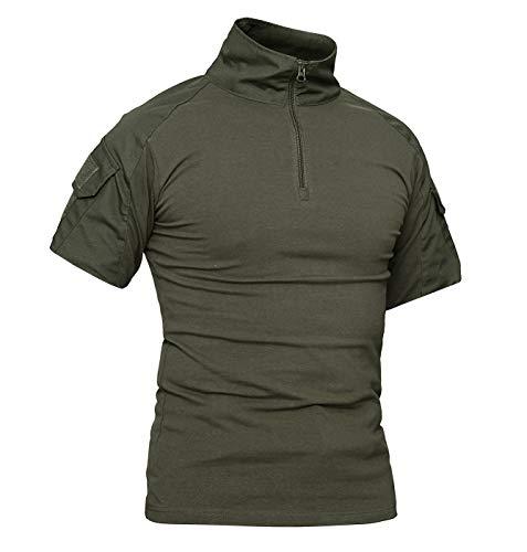 KEFITEVD T-Shirt Herren Taktisch 1/4 Reißverschluss Camouflage Shirt Ärmeltaschen mit Klett Army Uniform Flecktarn Outdoor Hemd Dunkeloliv L