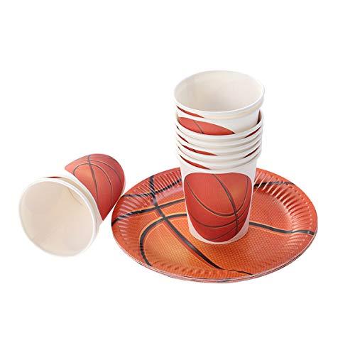 BESTOYARD Basketball Theme Party Einweg Papier Geschirr Set Papier Kuchen Teller Tassen Basketball Fans Partei Liefert 10 Stücke