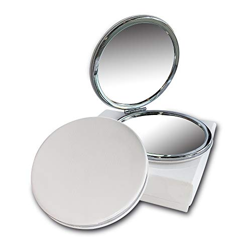 Compact Travel Makeup Magnifying Mirror - BelleJiu Small portable folding Mirror with Handheld and Easy to carry WHITE