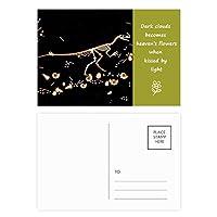 黒い小型の恐竜の化石 詩のポストカードセットサンクスカード郵送側20個